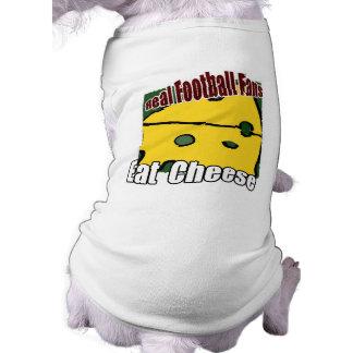 El fútbol Cheesehead come verde y el oro del queso Playera Sin Mangas Para Perro