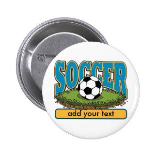 El fútbol de encargo añade el texto pin redondo 5 cm