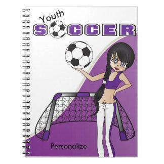 El fútbol de la juventud personaliza - púrpura spiral notebook