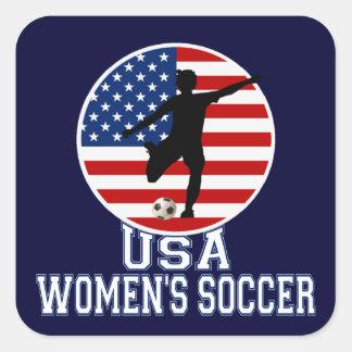 El fútbol de las mujeres de los E.E.U.U. Pegatinas Cuadradases