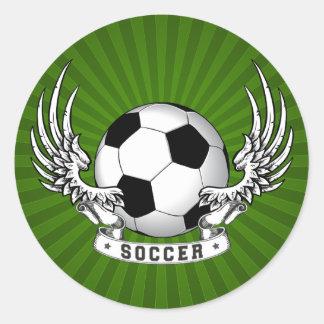 El fútbol del fútbol se va volando al pegatina
