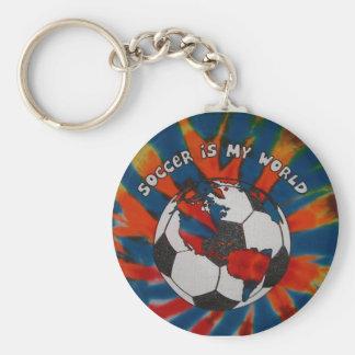 El fútbol es mi mundo llavero redondo tipo pin