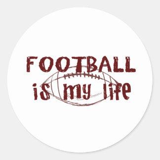 El fútbol es mi vida pegatina redonda