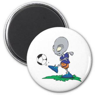 El fútbol está fuera de este mundo imán redondo 5 cm