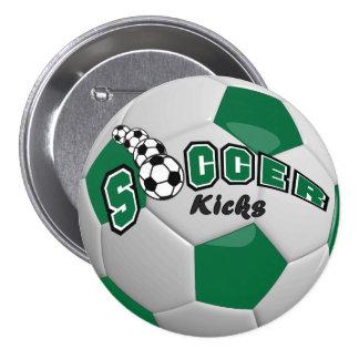 El fútbol golpea el | con el pie verde oscuro pin redondo 7 cm