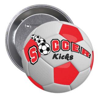 El fútbol golpea el rojo del | con el pie pin redondo 7 cm