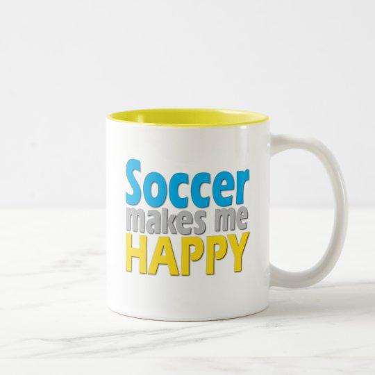 El fútbol me hace los regalos felices taza de café de dos colores