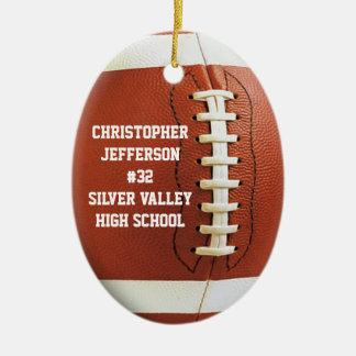 El fútbol oval personalizado se divierte el adorno navideño ovalado de cerámica