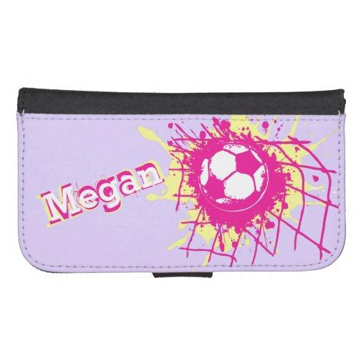 El fútbol púrpura amarillo rosado de los chicas no fundas cartera para teléfono