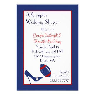 El fútbol rojo y azul junta la ducha del boda