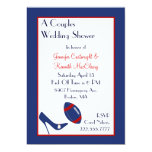 El fútbol rojo y azul junta la ducha del boda invitación 12,7 x 17,8 cm