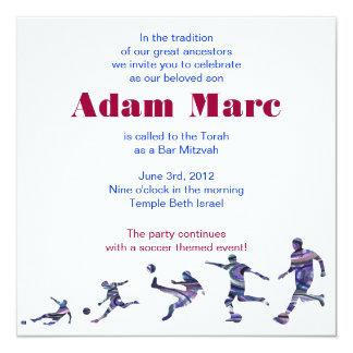 El fútbol se divierte el rojo judío de Mitzvah de Invitación 13,3 Cm X 13,3cm