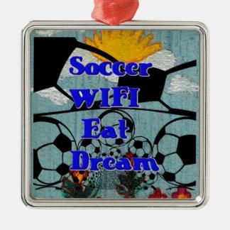 El fútbol WIFI come la repetición ideal Adorno Navideño Cuadrado De Metal