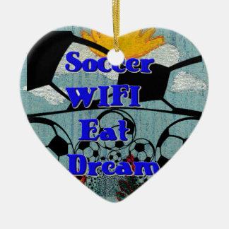 El fútbol WIFI come la repetición ideal Adorno Navideño De Cerámica En Forma De Corazón