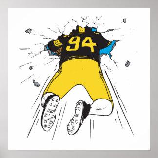 el futbolista divertido se estrelló en la pared poster
