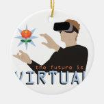 El futuro es virtual adorno navideño redondo de cerámica