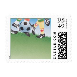 El futuro golpea el © con el pie timbres postales