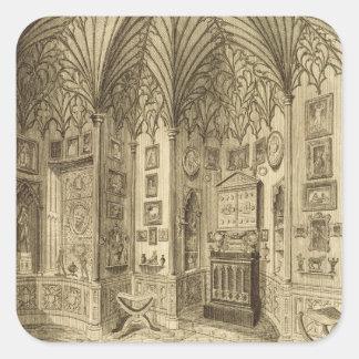 El gabinete, grabado por T. Morris, de 'Descript Pegatina Cuadradas