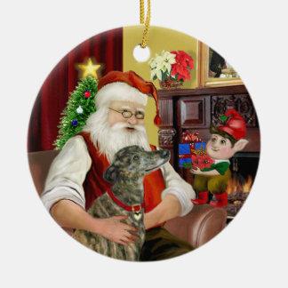 El galgo Brindle de Santa Ornamentos De Reyes
