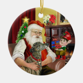 El galgo Brindle de Santa Ornamente De Reyes