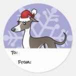 El galgo del navidad/el regalo de Whippet/de Iggy Etiquetas Redondas