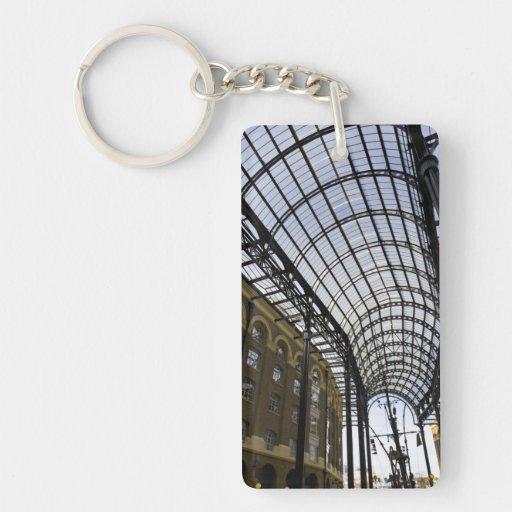 El Galleria Londres del heno Llavero Rectangular Acrílico A Una Cara