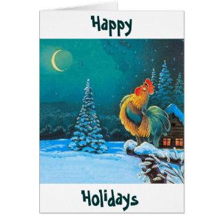 el gallo los días de fiesta está aquí otra vez tarjeta de felicitación