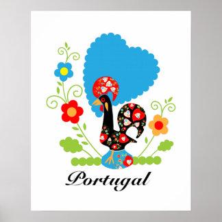 El gallo portugués de la suerte póster