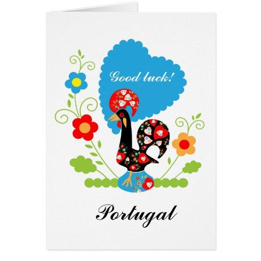 El gallo portugués de la suerte felicitaciones