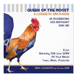 El gallo raya la invitación de la fiesta de cumple