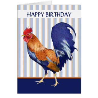 El gallo raya la tarjeta del feliz cumpleaños