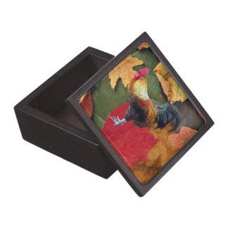 El gallo sale de tamaños superiores de la caja de cajas de joyas de calidad