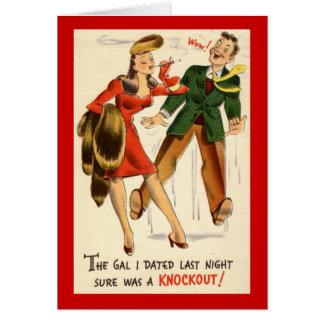 ¡El galón era un golpe de gracia! Vintage Tarjeta De Felicitación