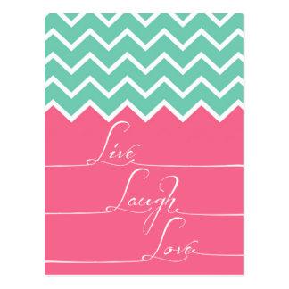 El galón rosado y verde/vive, laught, amor tarjeta postal
