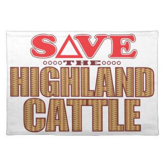 El ganado de la montaña ahorra mantel