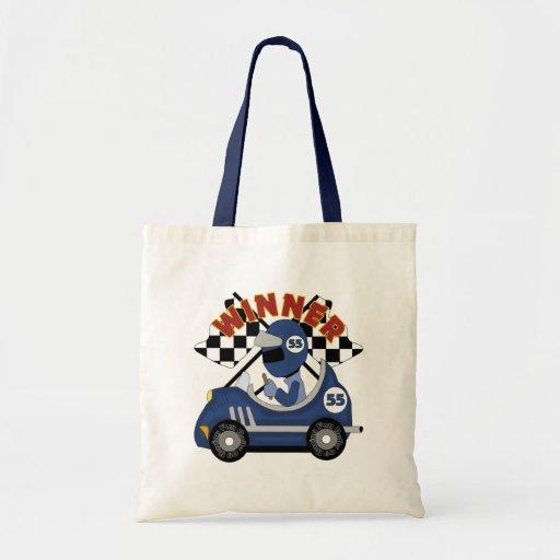 El ganador del coche de carreras embroma el regalo bolsa lienzo