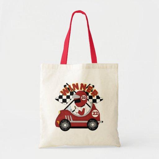 El ganador del coche de carreras embroma el regalo bolsa tela barata