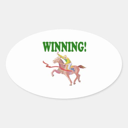 El ganar pegatinas ovales