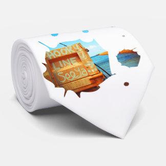 El gancho de pesca alinea el embarcadero azul del corbatas personalizadas
