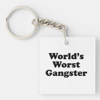 El gángster peor del mundo llavero cuadrado acrílico a una cara