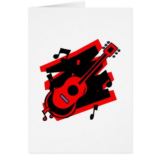 el garabato del extracto de la guitarra detrás tarjeta de felicitación