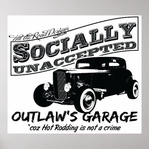 El garaje del proscrito. Coches de carreras social Poster