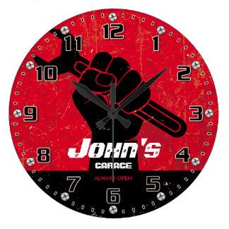 El garaje equipa el Retro-Estilo de Personalizable Reloj Redondo Grande