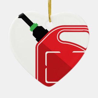 El gas puede adorno navideño de cerámica en forma de corazón
