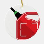 El gas puede adorno navideño redondo de cerámica