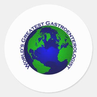 El gastroenterólogo más grande del mundo etiqueta redonda