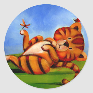 El gatito 2 de los niños de Trish Biddle de 3 Pegatina Redonda