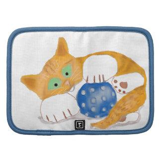 El gatito anaranjado del tigre juega con una bola organizador
