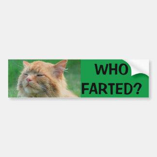 ¿El gatito anaranjado pregunta quién Farted? Pegatina Para Auto