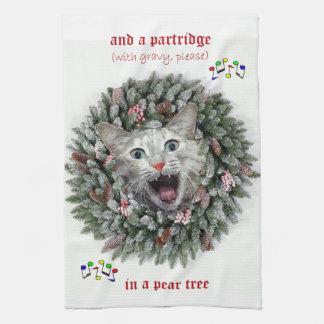 """El gatito canta """"doce días de navidad """" toalla de cocina"""